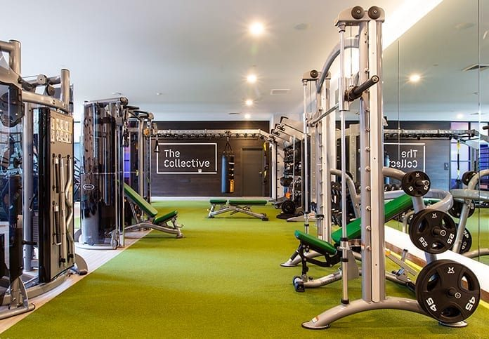 Fitness center with weight stations